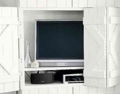 meuble cache télé en blanc