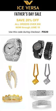 FATHER'S DAY SALE Save 20% off all orders over $50! Use code: FD20 at checkout! http://ICEVERSA.COM