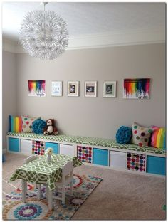 Ikea kids playroom storage ideas - Home Decor -DIY - IKEA- Before After Kids Playroom Storage, Ikea Playroom, Ikea Storage, Playroom Ideas, Storage Ideas, Cube Storage, Toy Storage, Ikea Nursery, Wall Storage
