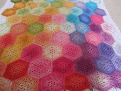 Rainbow Hexagons Blanket by Lululovescrochet on Etsy