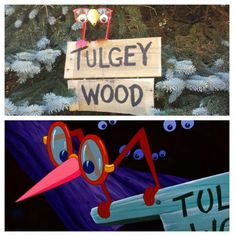 Tulgey Wood Alice in Wonderland Disney bridal shower sign. A reclaimed wood pallet, red glasses, googly eyes, paper and red popsicle sticks.