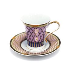Interior Place - Purple Gold Rhombus Coffee Cup and Saucer (Gift Set of 2), 26.20 CAD (http://www.interiorplace.com/purple-gold-rhombus-coffee-cup-and-saucer-gift-set-of-2/)