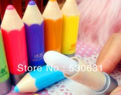 Free shipping High Quality Crayon Lip balm Lip Smacker Super Lovely Color Pen Gift Present for kids 6 kinds of Fruit Lip Gloss
