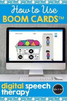 Heard of boom cards but aren't exactly sure what they are? Boom cards are a fantastic digital speech therapy resource perfect for distance learning! Awesome fun and interactive digital speech activities for kids to use every day! Speech Activities, Speech Language Therapy, Speech Therapy Activities, Speech And Language, Preschool Activities, Language Games For Kids, Language Activities, Technology Lessons, Computer Lessons