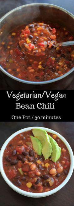 Vegetarian chili that's also vegan friendly and gluten-free. This one pot meal can be ready in 30 minutes and is deliciously flavored with @McCormickSpice Organics Chili Seasoning. #McCormickDinners
