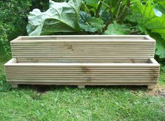 Handmade Two tiered hand made wooden tanalised Decking garden planters,  Made from 32mm pressure treated decking  The corners are fixed using 2.5 inch, 6.35mm decking screws   drainage holes are drilled in the base for drainage  the planters are; 1000mm long, 300mm wide and 320mm high (sizes are approximate) These are strong boxes that will last many years using the highest quality 32mm pressure treated decking timber   Tanalised timber is recognised by the UK soil association as organic as…
