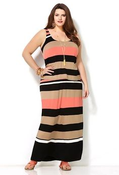 Plus Size Striped Popover Maxi Dress
