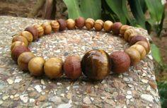 Mens Tigers Eye Gemstone & Wooden Beaded Bracelet Surfer Hippie Ethnic FREE POST