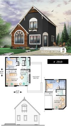 Poplar new american home plan with panoramic view - Home building ideas - 2 to 3 bedroom transitional style house plan, low cost home to build, open floor plan # 2919 - Cottage House Plans, Small House Plans, Cottage Homes, Guest House Plans, A Frame House Plans, The Plan, How To Plan, Cabin Design, Tiny House Design
