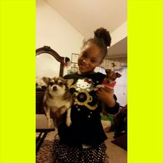 My two chi's...looking at the picture.  Lil Cheyna is on the right and my Cammi is on the left.  And Grammy's doll, Maliyah, is in the middle.  I love each one with my whole heart!