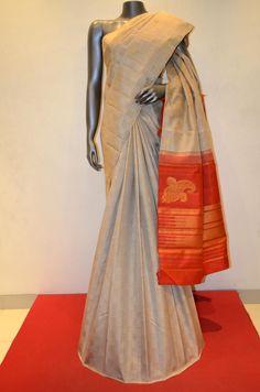 Grey Pure Kancheepuram Silk Saree Product Code: AB203853 Online Shopping: http://www.janardhanasilk.com/Saree-Collections/Kanjeevaram-Silk-Saree/Grey-Pure-Kancheepuram-Silk-Saree?limit=25
