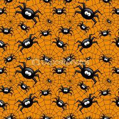 Halloween wzór z pająk i web pająki nad oran — Zdjęcie stockowe © ayo888 #85163660