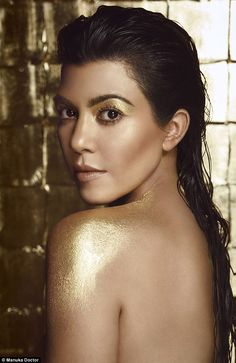 Kourtney Kardashian has been unveiled as the new face of a natural beauty campaign and looks the spitting image of sister Kim as she goes topless in the sultry shoot #Goldskincare #GoldBeauty