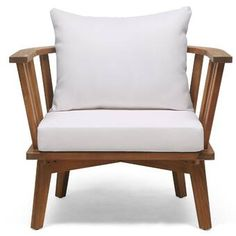 Rosecliff Heights Teague Outdoor Patio Chair with Cushions White Cushions, Outdoor Cushions, Outdoor Lounge, Seat Cushions, Patio Chairs, Outdoor Chairs, Wood Patio, Outdoor Furniture, Lounge Furniture