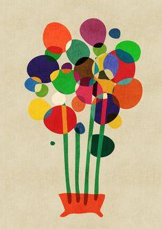 Happy flowers in the vase Art Print by Budi Satria Kwan | Society6