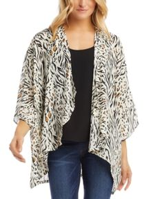$66.94. KAREN KANE Top Drape-Front Kimono #karenkane #top #tunic #clothing Blazer Jackets For Women, Karen Kane, Plus Size Women, Floral Tops, Kimono Top, Front Design, Clothes For Women, Layering, How To Wear