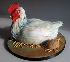 Hen and egg shaped cake...not your typical fried chicken! LOL