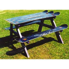 old outdated snowboards into picnic table