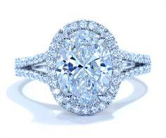 Oval Halo Diamond Ring in 18k white gold by Ascot Diamonds #ascotdiamonds
