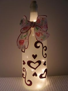 So cute! Wine Bottle with lights
