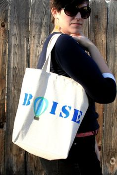 Boise Canvas Tote Bag.  Hand Painted Hot Air Balloon on Canvas Tote Bag.  Blue text and Blue & Green Balloon Illustration.