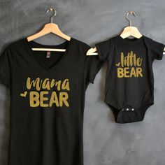 Mama Bear + Little Bear Shirt Package  This listing includes two items -- one womens v-neck cotton t-shirt, and one baby body suit.  We custom