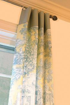 Window Panels Drapery Curtain Toile Yellow and by ItsSoVintage Toile Curtains, French Curtains, Green Curtains, French Country Kitchens, French Country Living Room, French Country Style, Window Panels, Window Coverings, Window Treatments