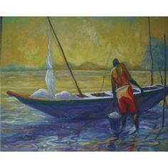 Majidun River Oil on Canvas Art Pieces, African, Wall Art, Oil On Canvas, Canvas, African Wall Art, Painting, Art For Sale, Art