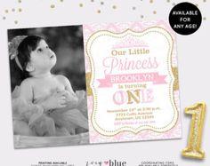 Princesa cumpleaños invitación niña oro brillo por ZoeyBlueDesigns