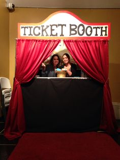 #diy Ticket Booth (red curtains and rod, wood, paint
