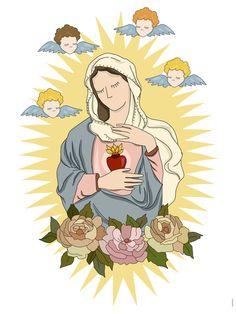 Coração, maria, mãe, deus, religioso, santa, virgem, ilustração,