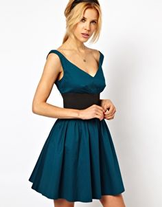 Image 1 of ASOS Skater Dress With Off Shoulder And Deep Waistband