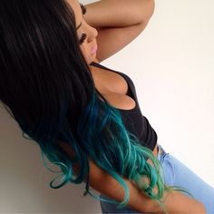 Clip in Remy Human Hair Extensions. Double drawn hair (Natural black and blue green ombre. Ombre Hair Extensions, Human Hair Extensions, Blue Hair, Wavy Hair, Extension A Clip, Balayage Ombré, Heart Hair, Natural Hair Styles, Long Hair Styles