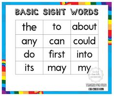 Sight words, often also called high frequency words, are commonly used words that young children are encouraged to memorize as a whole by sight, so that they can automatically recognize these words in print without having to use any strategies to decode.  Here are just some basic sight words categorized into different levels of difficulty. Basic Sight Words, Early Reading, High Frequency Words, Best Teacher, How To Memorize Things, Encouragement, How To Apply, Charts, Young Children