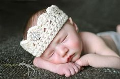 Photography Prop for Newborn Baby - Handmade Crochet Crown with Jewels
