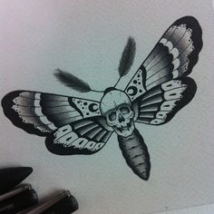 Grey Ink Skull Moth Tattoo Design