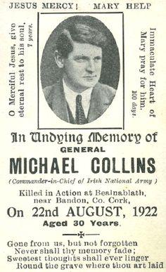 Michael Collins Memorial Card