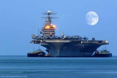 AIRCRAFT CARRIER - COOL EVENING SHOT - FULL MOON
