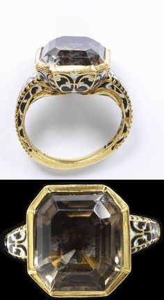 Enamelled gold ring, with an octagonal box bezel re-set with a smoky quartz. Probably Spain, 1600-50.