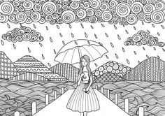 Beautiful Girl Walking On The Bridge While It'S Raining, Doodle Art Design For Adult Coloring Book Pages And Other Decorations Banco de ilustração vetorial 431064985 : Shutterstock Doodle Art Drawing, Zentangle Drawings, Mandala Drawing, Art Drawings For Kids, Art Drawings Sketches, Adult Coloring Book Pages, Coloring Books, Dibujos Zentangle Art, Mandala Art Lesson