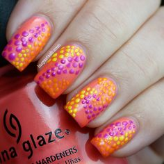Lucy's Stash: Summer Challenge Day 3: Summer Dots. Featuring China Glaze Summer Neons!