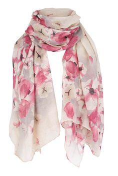 Blossom Print Scarf, light spring pastel pink flower petal cream #Klife #Scarf