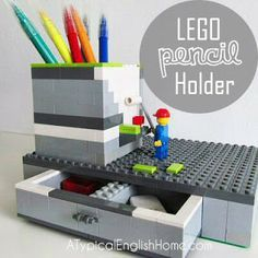 A Typical English Home: DIY Lego Pen Holder - Oh my god what a fantastic idea!