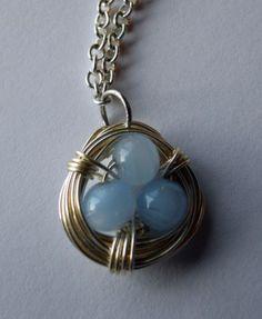 Bird nest necklace wire wrapped bird nest necklace gift for mom little birds nest necklace aloadofball Choice Image
