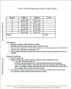 Free Printable Two Table Tally Score Sheets For Euchre, Bridge, Canasta, Etc
