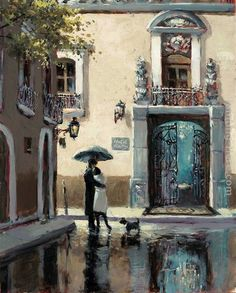 Brent Heighton Boulevard Hotel painting is shipped worldwide,including stretched canvas and framed art.This Brent Heighton Boulevard Hotel painting is available at custom size. Canadian Painters, Canadian Artists, Couple Illustration, Illustration Art, Rain Art, Umbrella Art, The Embrace, Parasols, Poster Prints