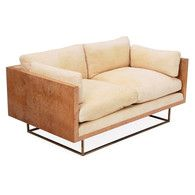 "Milo Baughman settee, c.1969, even-arm form in olive burl veneer over a square tubular brass frame, reupholstered, 58""w x 34""d x 24.75""h, upholstery very clean, very good condition 2000-2500"