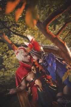League of Legends - Xayah - canary(Kano Rikа) Xayah, Kozhevnikov(Kozhevka) Rakan Cosplay Photo - Cure WorldCosplay