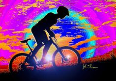 """""""Mountain Bike Sunrise"""" by John Thompson, Miami   // A Digital abstract painting of a mountain bike rider in the morning sun. // Imagekind.com -- Buy stunning fine art prints, framed prints and canvas prints directly from independent working artists and photographers."""