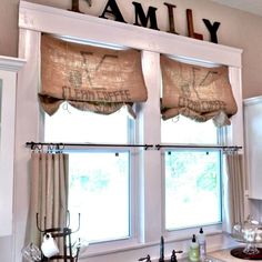 Sewing Curtains burlap-Curtains window treatments - Window treatments can change the look and feel a room. Whether you're looking for curtains, shades or something in between, here are 10 awesome ideas that are DIY-friendly. Cheap Window Treatments, Burlap Window Treatments, Farmhouse Window Treatments, Window Treatments Living Room, Picture Window Treatments, Window Coverings, Picture Window Curtains, Lace Window, Farmhouse Kitchen Curtains